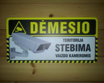 Dėmesio teritorija stebima vaizdo kameromis 400x200mm ispėjamoji lentelė.